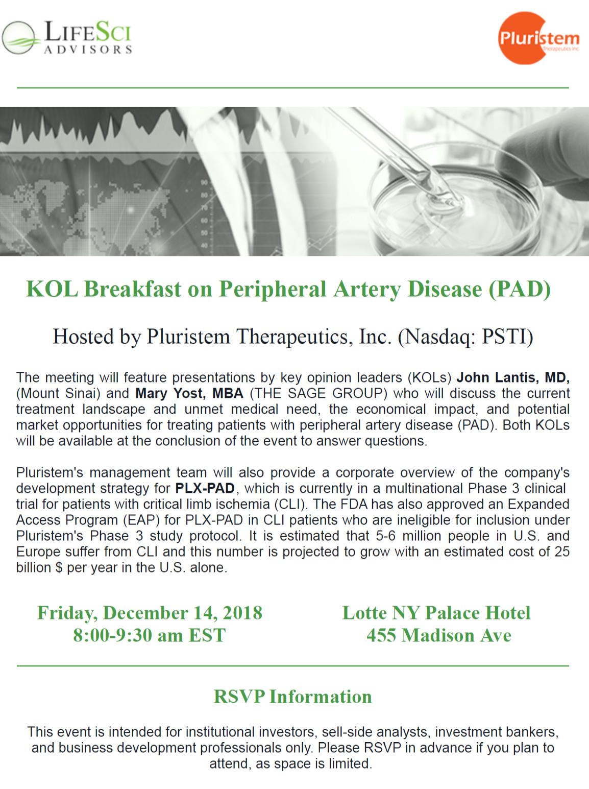 KOL Breakfast on Peripheral Artery Disease (PAD)