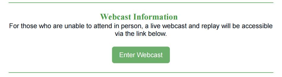 Webcast Information